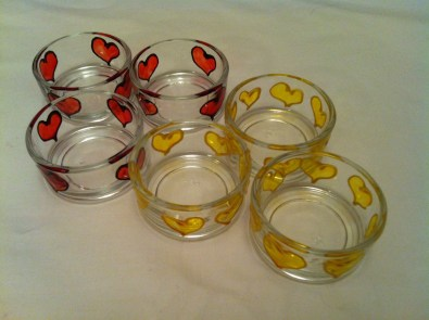 Yellow and Red Hearts Small Tealight Holders (£1.50 each or 3 for £4.00)
