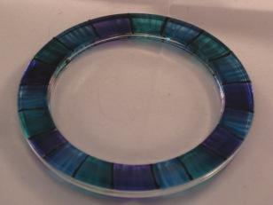 Blue Stripe Candle Dish