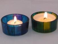Blue Stripe & Green Stripe Lge Tealight Holders