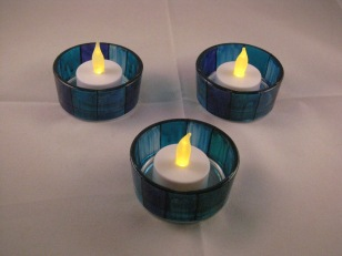 Blue Stripe Large Tealight Holder and Candle Dish
