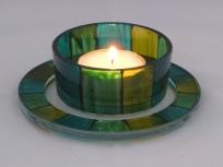 Green Stripe Large Tealight Holder & Candle Dish