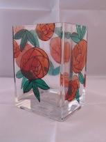 Large Red Art Nouveau Rose Rectangular Vase (£8.00)