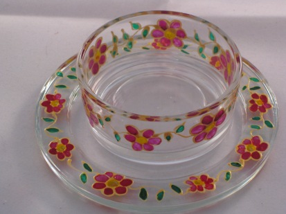 Pink Flower Green Leaf Gold Large Tealight Holder and Candle Dish (£6.00)