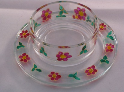 Pink Flower Green Leaf Large Tealight Holder and Candle Dish