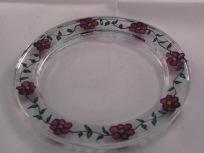 Pink Flower & Leaf Black Candle Dish