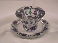 Purple Flower Candle/Tealight Holder and Dish