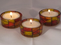 Red Yellow Orange Stained Glass Sm Tealight Holders