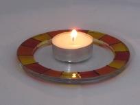 Red Yellow Orange Stripe Candle Dish