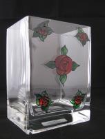 Small Red Art Nouveau Rose Rectangular Vase (£8.00)