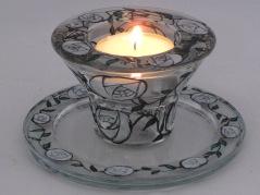 White Art Nouveau Rose Candle/Tealight Holder & Candle Dish