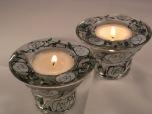 White Art Nouveau Rose Candle/Tealight Holders