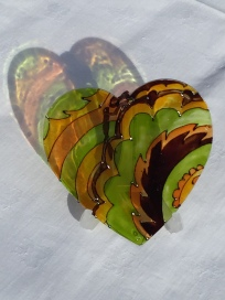 Green, Yellow, Brown Abstract Heart (Med2)