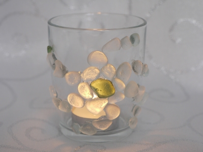 Seaglass candle holder lit £6.00