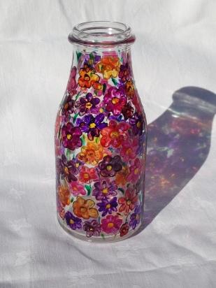 Milk Bottle with Flowers (£10)